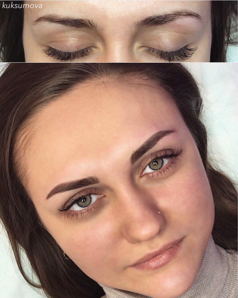 Фото татуажа бровей до и после